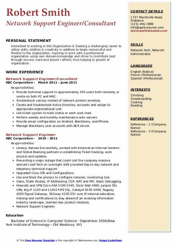network support engineer resume samples  qwikresume