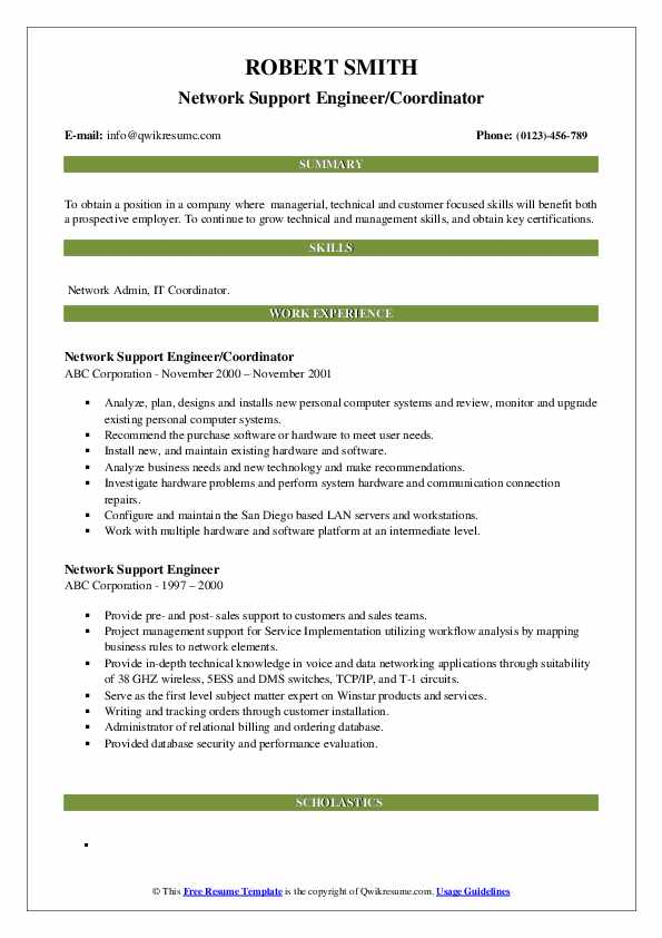 network support engineer resume samples