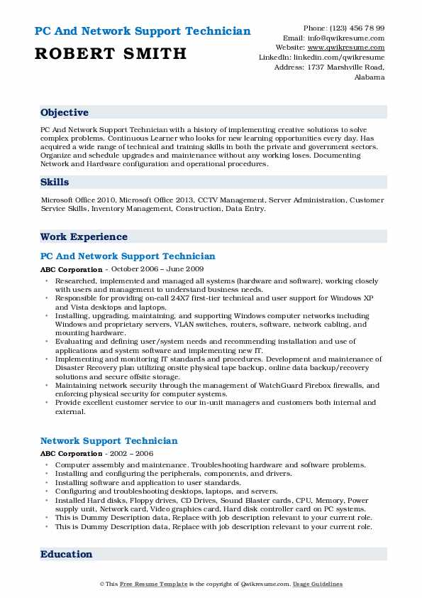 PC And Network Support Technician Resume Model