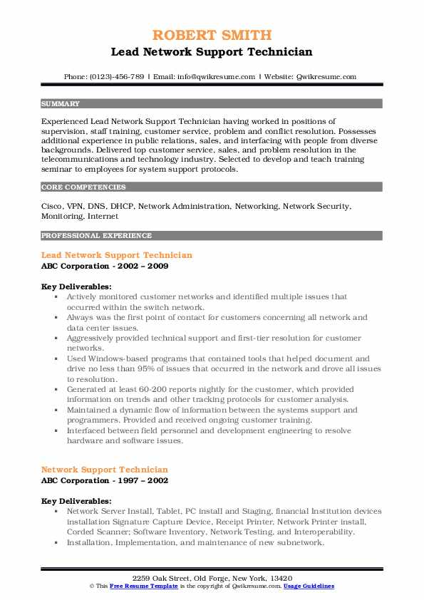 Lead Network Support Technician Resume Template