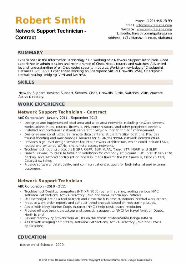 Network Support Technician - Contract Resume Format