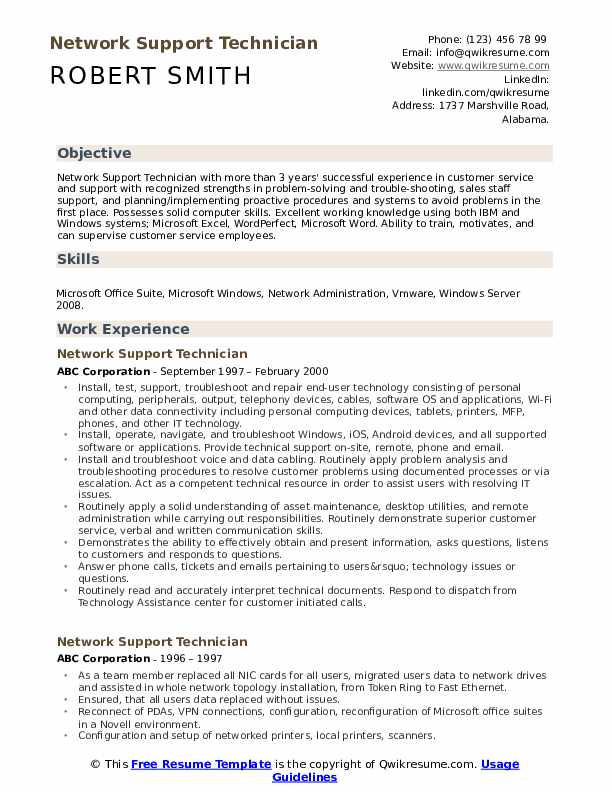 Network Support Technician Resume example