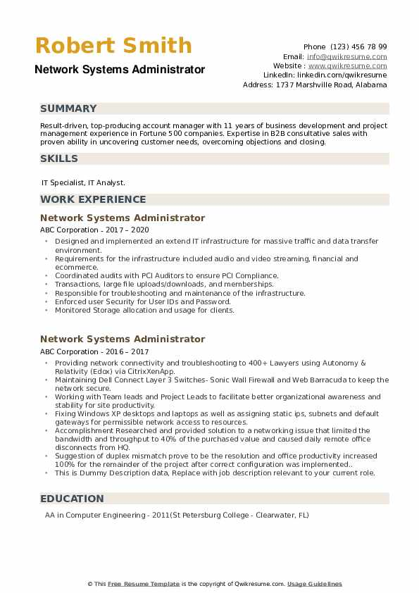 Network Systems Administrator Resume example