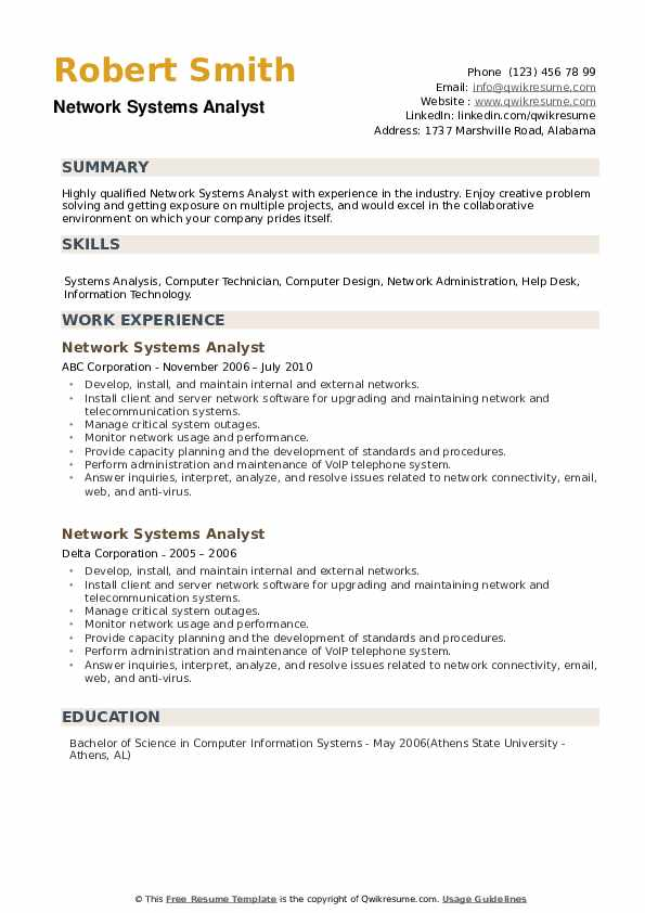 Network Systems Analyst Resume example