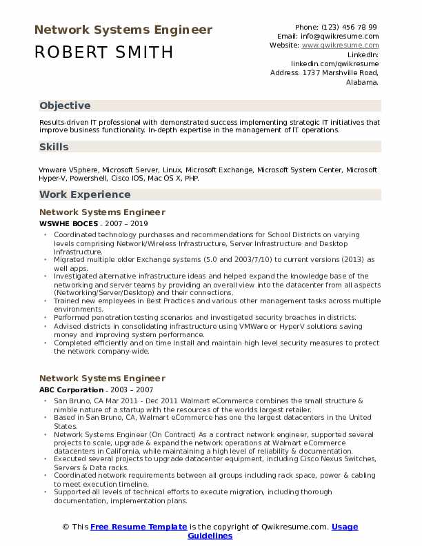 network systems engineer resume samples  qwikresume