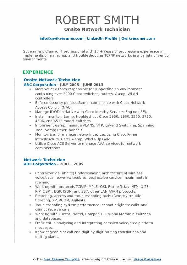 Onsite Network Technician Resume Template