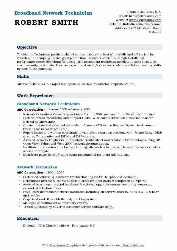 Broadband Network Technician Resume Model