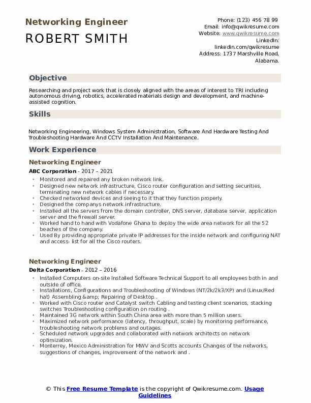 Networking Engineer Resume example