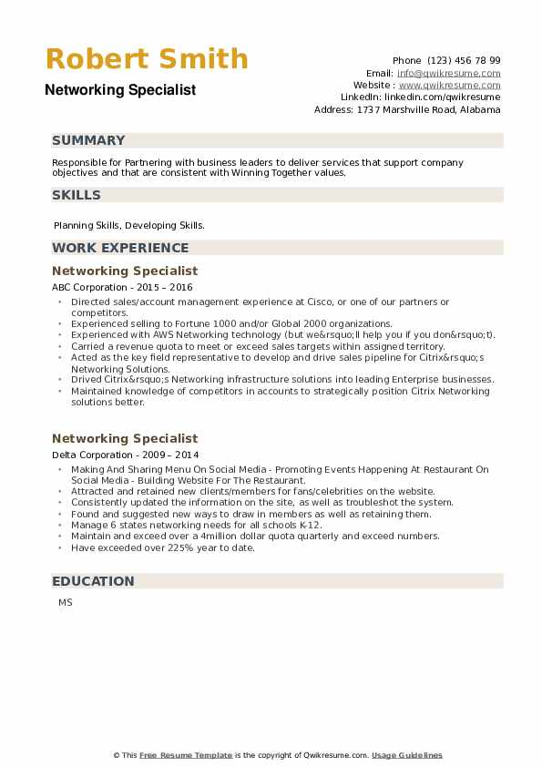 Networking Specialist Resume example