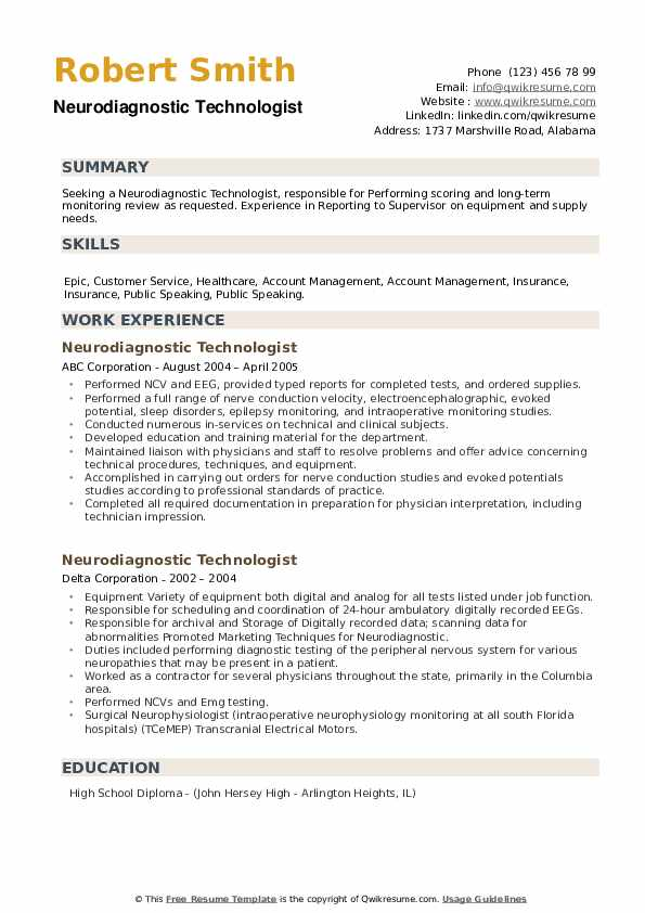 Neurodiagnostic Technologist Resume example