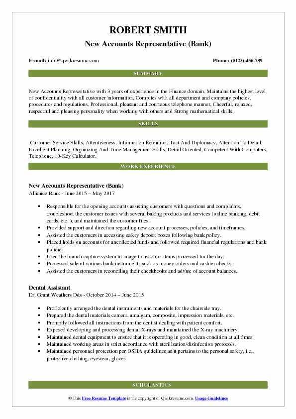 New Accounts Representative (Bank) Resume Example