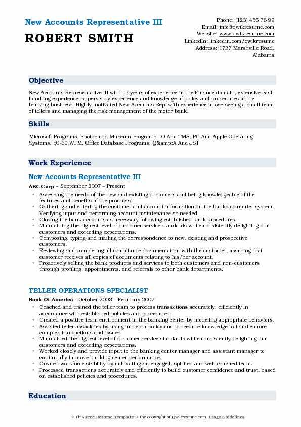New Accounts Representative Resume Samples | QwikResume