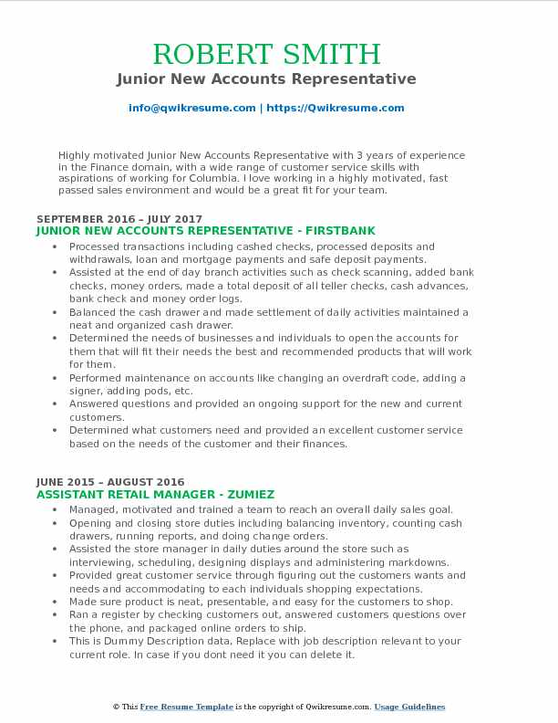 Junior New Accounts Representative Resume Model