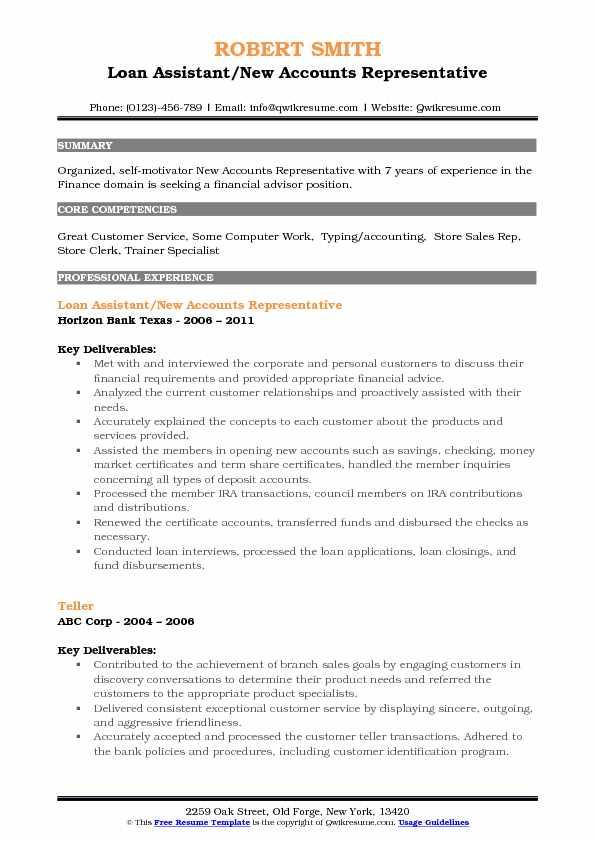 Loan Assistant/New Accounts Representative Resume Model