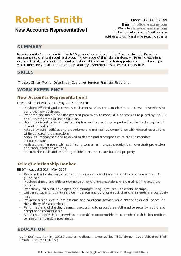New Accounts Representative Resume example