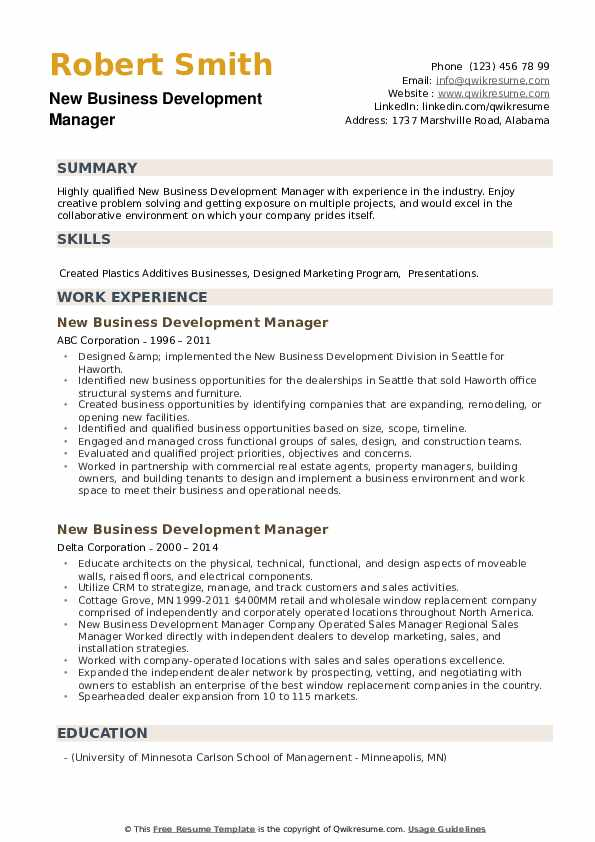 New Business Development Manager Resume example