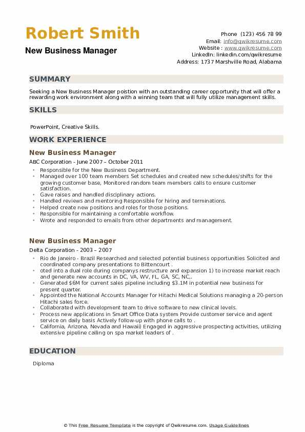 New Business Manager Resume example