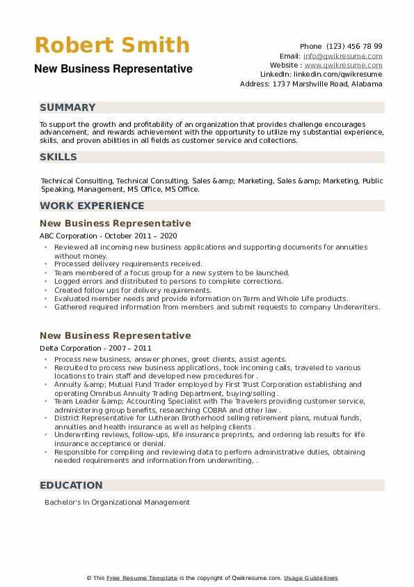 New Business Representative Resume example