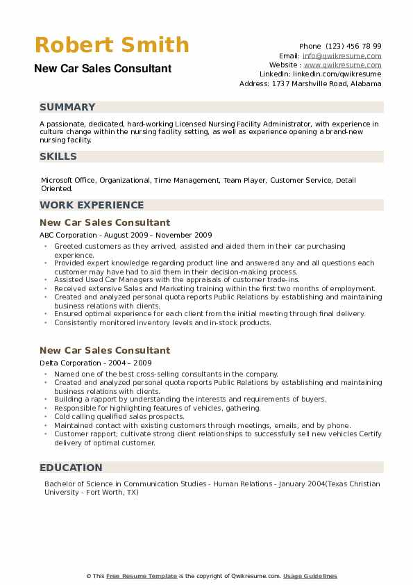 New Car Sales Consultant Resume example