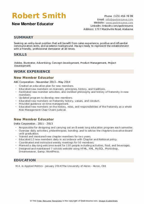 New Member Educator Resume example