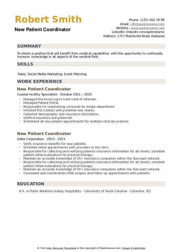 New Patient Coordinator Resume example