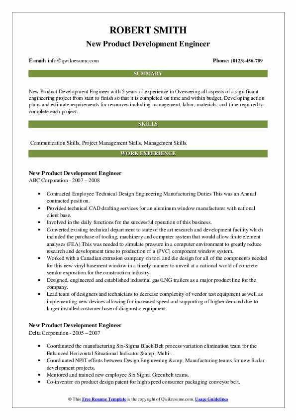 new product development engineer resume samples  qwikresume