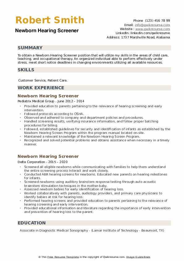 Newborn Hearing Screener Resume example