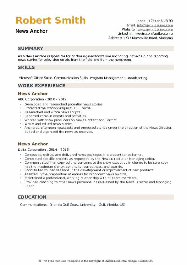 News Anchor Resume example