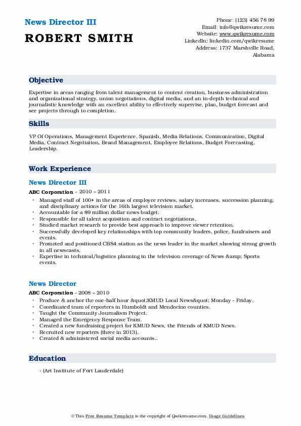 Director of news resume web applications project manager resume