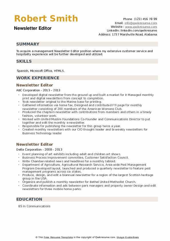 Newsletter Editor Resume example