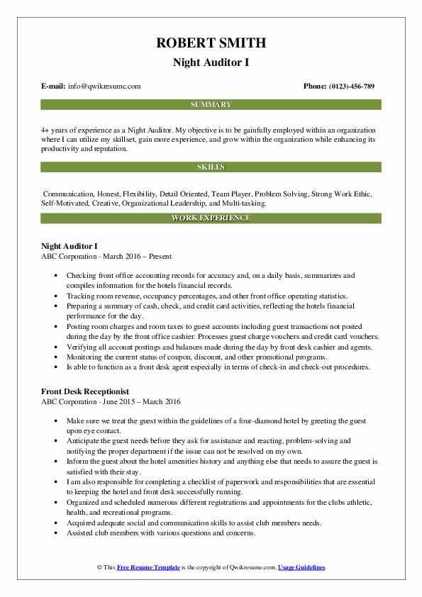 Night Auditor I Resume Format