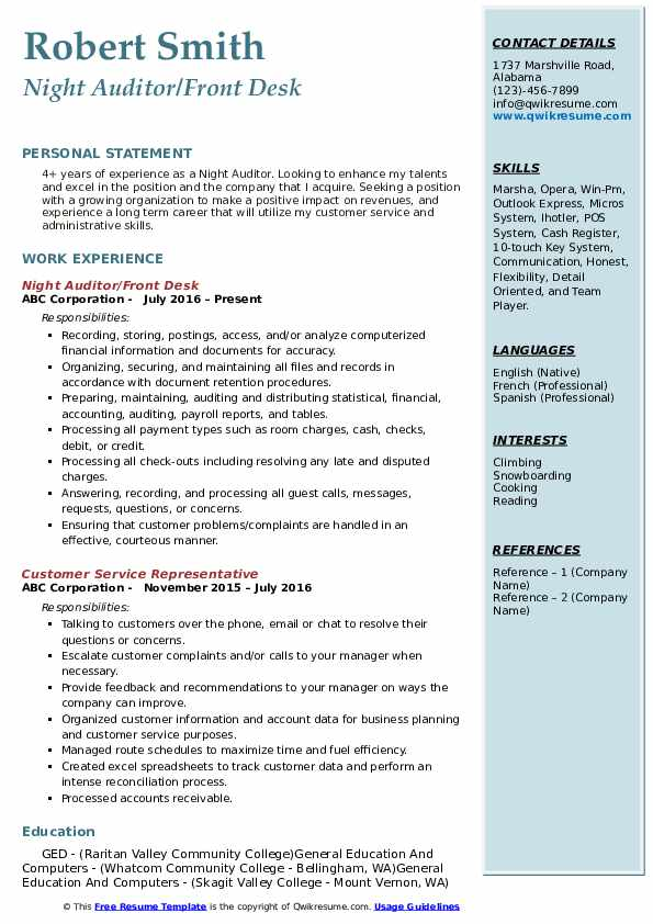 Night Auditor/Front Desk Resume Example