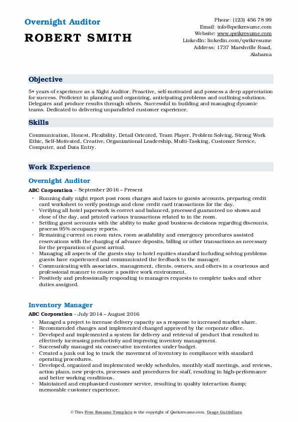 Overnight Auditor Resume Format
