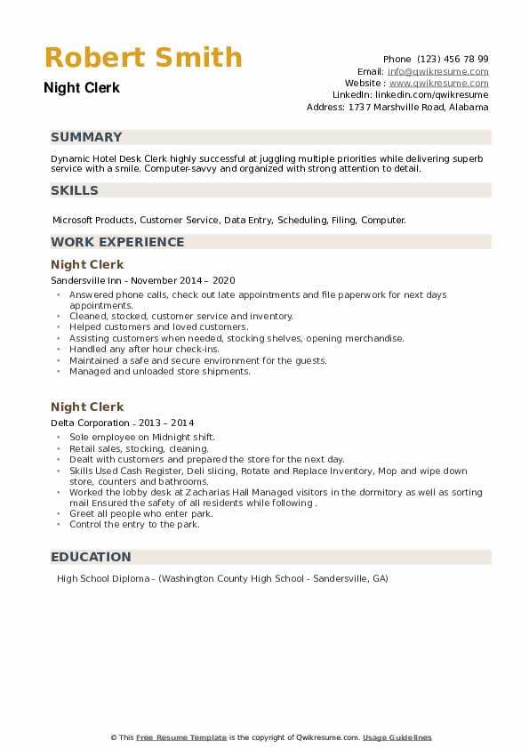 Night Clerk Resume example