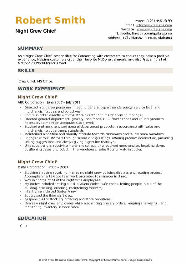 Night Crew Chief Resume example