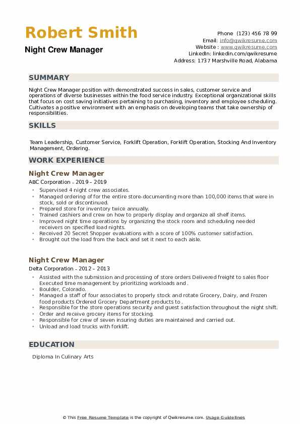 Night Crew Manager Resume example
