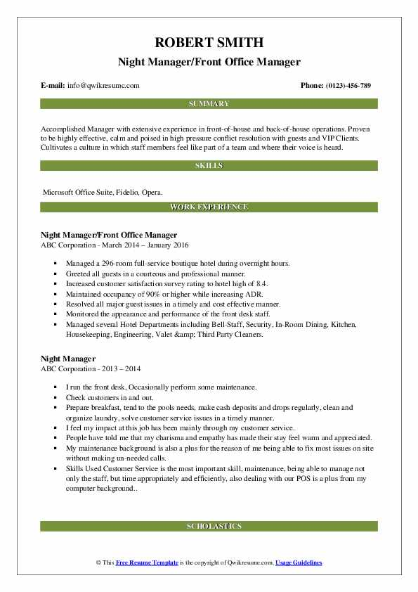 Night Manager/Front Office Manager Resume Model