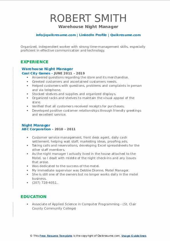 Warehouse Night Manager Resume Template