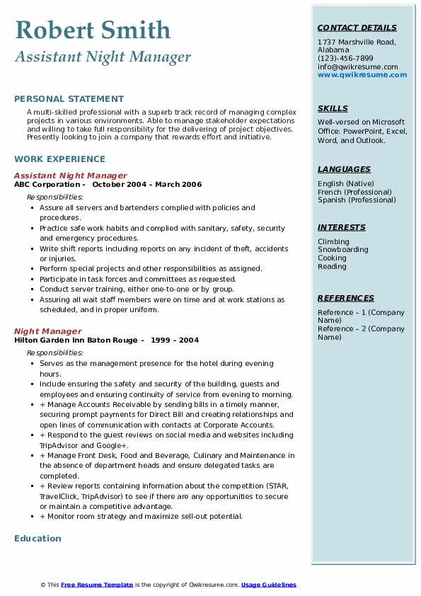 Assistant Night Manager Resume Format