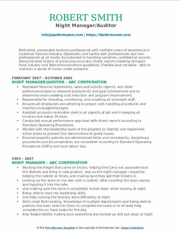 Night Manager/Auditor Resume Example