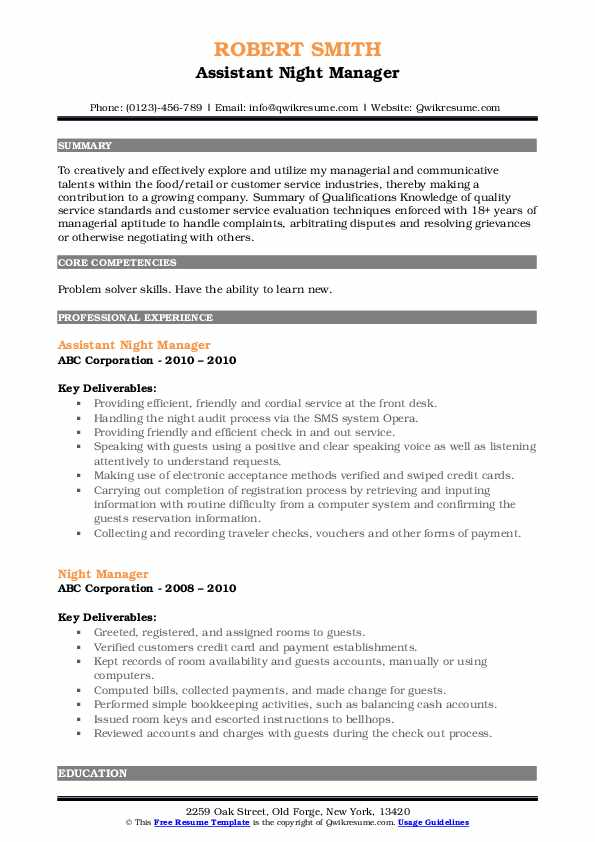 Assistant Night Manager Resume Sample