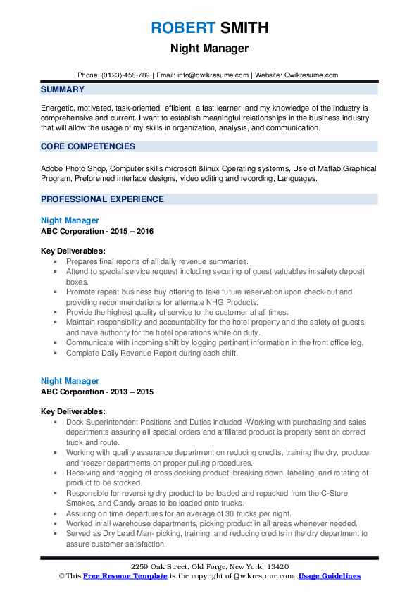 Night Manager Resume example