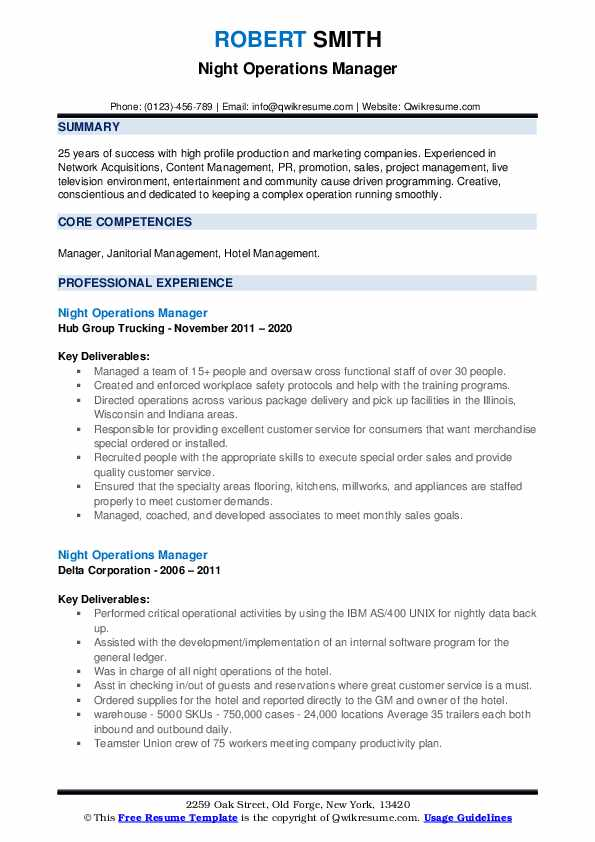 Night Operations Manager Resume example