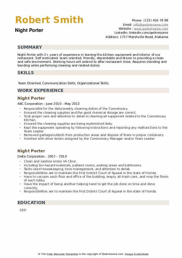 Night Porter Resume example