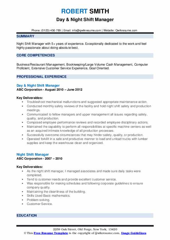 Day & Night Shift Manager Resume Model