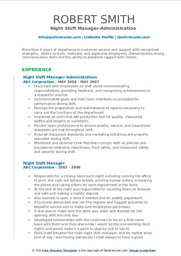 Night Shift Manager-Administration  Resume Format