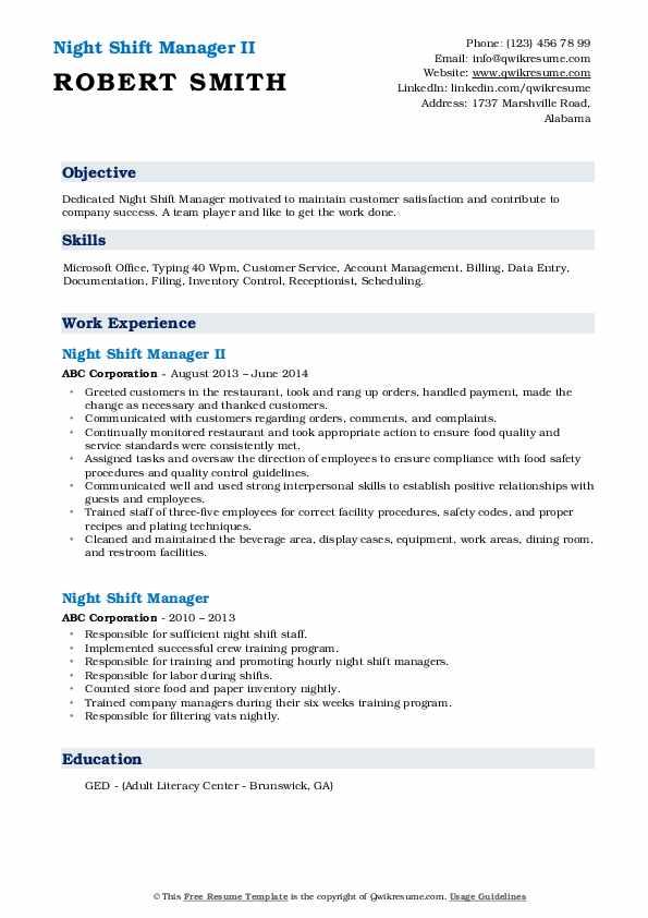 Night Shift Manager II Resume Model