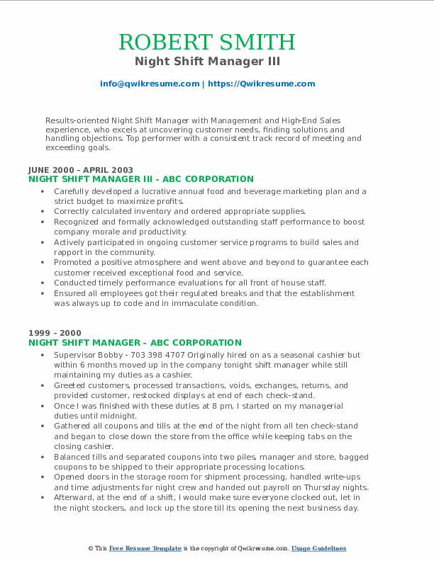 Night Shift Manager III Resume Example