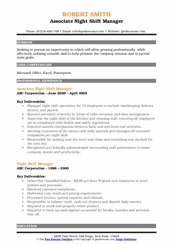 Associate Night Shift Manager Resume Model