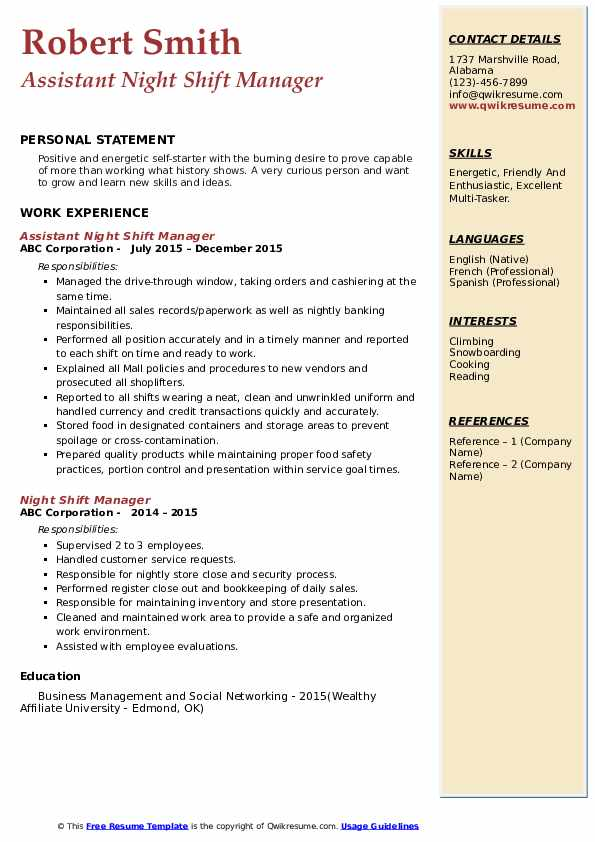 Assistant Night Shift Manager Resume Model